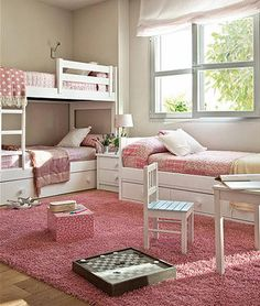 pink girls room, bunk beds, day bed