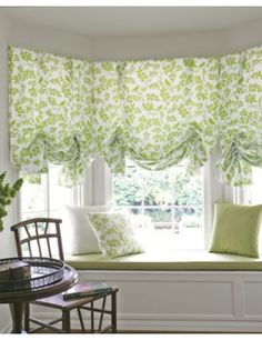 I have a big bow window and am thinking roman shades. These are perhaps a bit too frilly. But Id like to get a nice blue-based print. White Cottage, Cozy Cottage, Cottage Style, Cottage Homes, Window Coverings, Window Treatments, Smith And Noble, Living Room Remodel, Fabric Shades