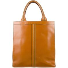 Pre-owned Valextra Classic Punch Tote ($525) ❤ liked on Polyvore featuring bags, handbags, tote bags, brown, leather purse, zippered tote, leather handbag tote, brown leather tote bag and leather tote