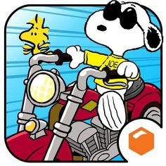 Snoopy als Joe Cool Motorradfahren mit Woodstock am Lenker - The Peanuts Gang - Snoopy Love, Snoopy E Woodstock, Charlie Brown Und Snoopy, Peanuts Gang, Peanuts Cartoon, Cartoon Fun, Peanuts Characters, Cartoon Characters, Retro Disney
