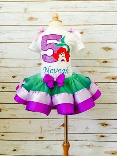 f0792fbadb64 Items similar to Little mermaid birthday outfit ribbon tutu purple and green  mermaid embroidered shirt glitter applique on Etsy