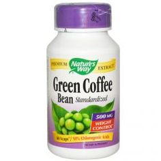 Nature's Way, Green Coffee Bean, Standardized, 500 Mg, 60 Vcaps, Diet Suplements 蛇
