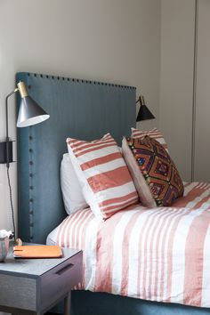 Design firm Ashe + Leandro is one to watch. Co-founders Ariel Ashe and Reinaldo Leandro are a dynamic duo who have created cheery interio. Bedroom Red, Bedroom Colors, Home Bedroom, Bedroom Decor, Bedrooms, Bedroom Ideas, Headboard Designs, Headboard Ideas, Blue Headboard
