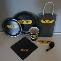 This listing is for Birthday Party Paper Supplies with a Lego Ninjago inspired theme. Choose from each party Supply in sets of 8 - Dinner Plates -
