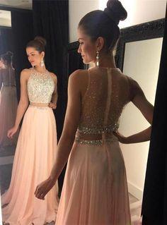 2 Pieces Sexy Prom Dresses Beaded Bodice daffodil Chiffon Long Evening  Dresses Prom Dresses Light Pink ddc82501f5b3