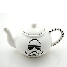 Star Wars (R) Storm Trooper Teapot.This one of a kind teapot was created from earthenware clay, kiln fired three times to over 1900 degrees.