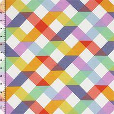 Cute print: Quilt Squares Orange Purple Brushed Cotton Spandex Knit Fabric