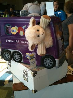 Baby Lenny the Lamb taking a ride to Scentsy Spring Sprint 2012.