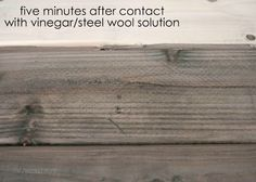 How to oxidize wood for a weathered or rustic look using black tea, vinegar and steel wool. Rustic End Tables, Diy End Tables, Diy Table, Weathered Wood, Barn Wood, Rustic Wood, Steel Wool And Vinegar, Paint Stain, Wood Stain