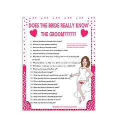 """Printable Wedding Shower Game  """"How Well Does the Bride Know the Groom?"""""""