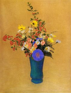 Bouquet of Wild Flowers. Odilon Redon (1910). Pastel on paper. Private collection. (wikipaintings)