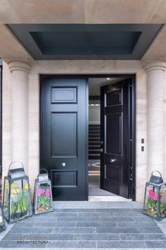 Traditional double front doors Top of the Hill Farm - Double Front Doors - Lakes Doors Architectural Black Exterior Doors, Black Entry Doors, Modern Entrance Door, Double Front Entry Doors, Modern Front Door, Wood Front Doors, Front Door Entrance, House Front Door, Aluminium Front Door