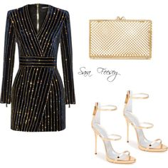 Untitled #140 by sara-elizabeth-feesey on Polyvore featuring polyvore, fashion, style, Balmain, Giuseppe Zanotti and Charlotte Olympia