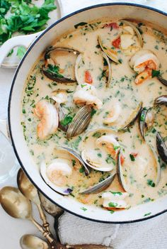 Rustic seafood soup using freezer and pantry staples! Seafood Soup Recipes, Fish Recipes, Recipes With Seafood Stock, Seafood Stew, Lobster Recipes, Seafood Dinner, Fish And Seafood, Chefs, Gourmet