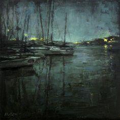 "Lindsey Kustusch ""Marina Boats at Night"""