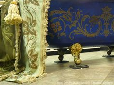 Stenciled and DIY Painted tub and drapery by Stenci Star Teri Taylor Roddi Diy Painting, Painted Beds, Custom Drapery Panels, Stencils Wall, Mural, Wall Paint Patterns, Royal Design, Decorative Painting, Royal Design Studio