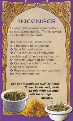 Incenses - This is only a fraction of the incense combinations that can be made. know your goal/desire and compound the appropriate herbs and resins. the energies released are amazing. Herbal Remedies, Natural Remedies, Kitchen Witchery, Herbal Magic, Wicca Witchcraft, Hedge Witchcraft, Smudge Sticks, Book Of Shadows, Kraut