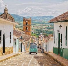 One of the coolest little towns you'll find in Colombia. Even better when you're able explore it in a 'bitchin VW bus 🚌 Places To Travel, Travel Destinations, Places To Go, Ely, Vw Bus, Vw Camper, Stone Street, Colombia Travel, Journey