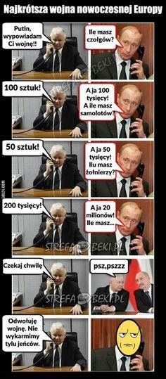 Najkrótsza wojna nowoczesnej Europy #krótka #wojna #Kaczyński #Putin Wtf Funny, Hilarious, Polish Memes, Oki Doki, Funny Mems, Text Memes, Chuck Norris, Meme Template, Man Humor