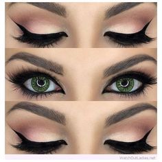 Gorgeous nude and black eye makeup for green eyes ❤ liked on Polyvore featuring beauty products, makeup, eye makeup, beauty, eyes and eyeshadow
