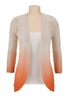 Open Front Ombre Pointelle Cardigan available at #Maurices