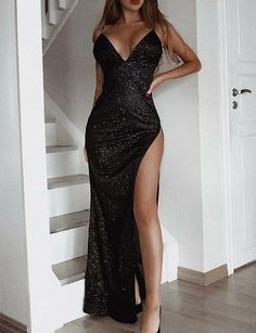 2019 Backless Sequin High Slit Evening Dress ,Black Prom Dress with Slit - Prom Dresses Design Black Prom Dresses, Ball Dresses, Elegant Dresses, Sexy Dresses, Cute Dresses, Formal Dresses, Party Dresses, Dress Black, Black Sparkly Dress