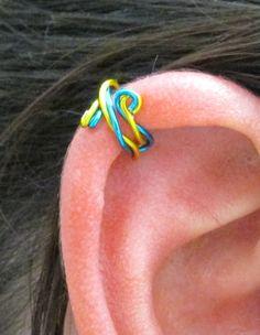 Spiral Ear Cuff Ear Wrap - Twisted Peacock Blue & Yellow