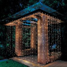 Better Homes & Gardens Outdoor LED Curtain Lights, White Backyard Projects, Backyard Patio, Backyard Landscaping, Landscaping Ideas, Backyard Canopy, Canopy Outdoor, Better Homes And Gardens, Led Curtain Lights, Canopy Lights