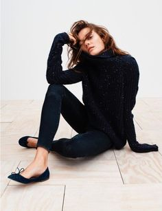 Abercrombie & Fitch Cable Turtleneck Sweater and High Rise Jean Leggings