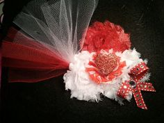 Shabby flower and glitter hearts accented with tulle on a super soft elastic headband Please check out my pages at www.Facebook.com/Lynnscreativenotions and www.etsy.com/shop/LynnsCreativeNotions