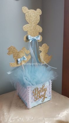 Boy Baby Shower Centerpiece/Gold and Baby Blue Baby Shower Centerpiece/Silver and Blue Baby Shower Centerpiece/Boy Baby Shower Centerpiece Boy Baby Shower Herzstück / Gold und Baby Blue Baby Shower Baby Shower Unique, Baby Shower Azul, Baby Shower Cakes, Baby Shower Parties, Baby Shower Themes, Baby Boy Shower, Baby Shower Favors, Baby Shower Gifts, Baby Showers