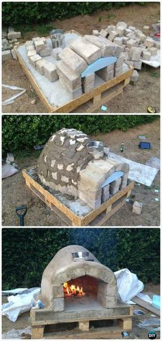 DIY Pallet Brick Pizza Oven Instructions - DIY Outdoor Pizza Oven Ideas Projects mehr zum Selbermachen auf Interessante-dinge.de