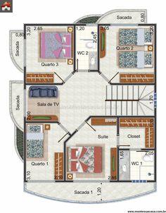 Planta de Sobrado - 4 Quartos - 130.5m² - Monte Sua Casa