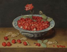 """laclefdescoeurs: """" A Still Life With Wild Strawberries And a Carnation In a Ming Dynasty, Wanli Period Blue And White Kraak-type Barbed-rim Bowl, With Cherries And Redcurrants On a Wooden Ledge, Jacob van Hulsdonck """" Jacob van Hulsdonck. Dutch Still Life, Wild Strawberries, Raspberries, National Gallery Of Art, Art Gallery, Tile Murals, Gandalf, Carnations, Be Still"""