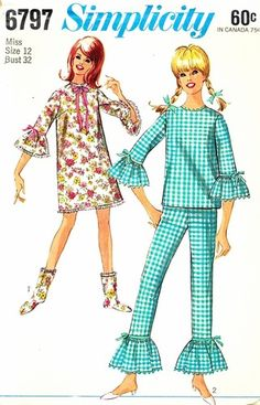 Simplicity Pattern 6797 Vintage 60's Ruffled Nightgown, Pajamas and Booties! Complete Size 12 Bust 32, $8.00