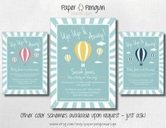 Personalized Hot Air Balloon Baby Shower Invitation - printable digital download invites