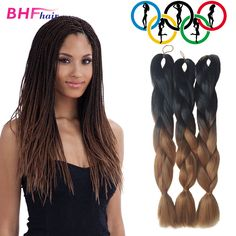 Cheap hair, Buy Quality hair needle directly from China hair wig beauty supply Suppliers:  24 Ince Ombre Xpression Synthetic Box Braids Hair Cheap Pink Two Tone Kanekalon Jumbo Color Crochet Braiding Hair Exten Ombre Box Braids, Jumbo Braiding Hair, Colored Box Braids, Jumbo Box Braids, Braid Hair, Expression Braiding Hair, Box Braids Hairstyles, Fancy Hairstyles, Rasta Hair