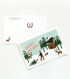 Happy Holidays Postcards from Rifle Paper Co - framing for seasonal art Holiday Postcards, Holiday Cards, Christmas Cards, Vintage Stamps, Vintage Postcards, Country Christmas, Christmas Themes, Very Merry Christmas, Christmas Holidays