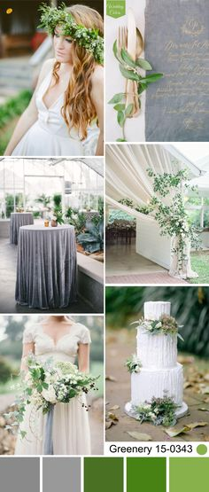 Pantone's Color of the Year 2017 Greenery + Grey Wedding Palette