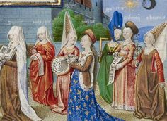 """The below image is a painting called """"Philosophy Presenting the Seven Liberal Arts to Boethius"""" from the manuscript The Consolation of Philosophy.  It is from around 1450, at the end of the era of Medieval fashion and just before the Renaissance started changing clothing.  The women wear a variety of gown styles, including sideless surcoats over cotehardies and the v-necked, high-waisted """"Burgundian"""" gown.  They all wear either wimples or hennins in different fashions, some veiled."""