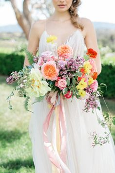 If Sleeping Beauty is Your Favorite Fairy Tale, You Need to See This Wedding Editorial. Colorful bridal bouquet with long silk ribbon If Sleeping Beauty is Your Favorite Fairy Tale, You Need to See This Wedding Editorial. Silk Bridal Bouquet, Spring Wedding Bouquets, Bridesmaid Bouquet, Bridal Bouquets, Flower Bouquets, Bridesmaids, Wedding Beauty, Boho Wedding, Garden Wedding