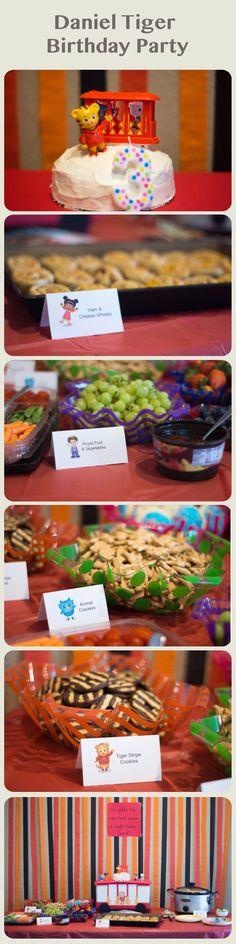 Daniel Tiger Birthday Party. FIY decorations. Food ideas. Trolley cake stand.