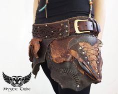Tribal Faerie Leather Skirt Belt by MysticTribeGear on Etsy