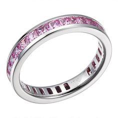 Tender Bond -   Pink sapphire white gold eternity ring