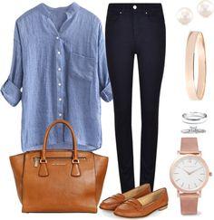 Andrea Moda y Asesoría: Minimal Style: Blusa chambray Pantalón azul oscuro...