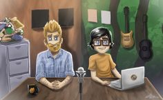 Rhett and link character drawings