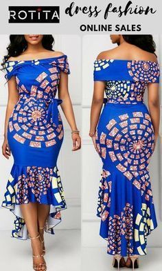 Sexy Dresses, Club & Party Dress Sale Online Printed Belted Off the Shoulder Mermaid Dress .From parties and formal dinners to work events and casual summer afternoons,our women's dress selection features something fllatering for every occasion. African Fashion Ankara, Latest African Fashion Dresses, African Print Fashion, Africa Fashion, Short African Dresses, African Print Dresses, Vestidos Chiffon, Ankara Dress Styles, Kente Styles