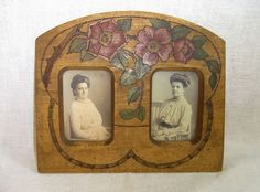 Art Nouveau Wood Picture Frame with Roses #BG