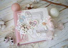Absolutely gorgeous Baby Album Cover by Evgenia Petzer. <3  #cover #albumcover #minialbum #album #papercraft #papercrafting #papercrafts #scrapbooking #scrapbook #scrapping #scrap #majadesign #majadesignpaper #majapapers #inspiration #vintage #baby