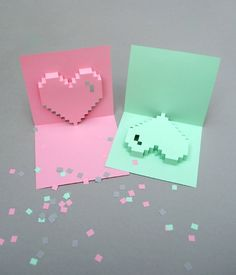 Pop-up pixel hearts